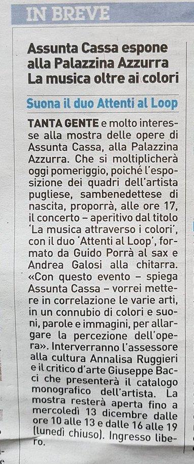 Assunta Cassa espone alla Palazzina Azzurra. La musica oltre ai colori