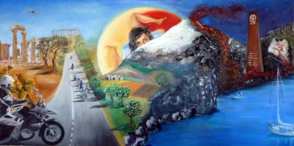 Emozioni di viaggio: Sicilia, 2012, olio su tela, cm 60x120