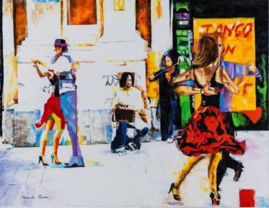 Tango On The Street, 2013, olio su tela, cm 70x90
