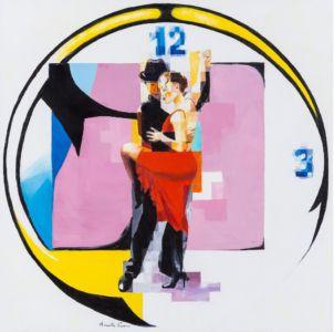 A tempo di tango, 2014, olio su tela, cm 80x80