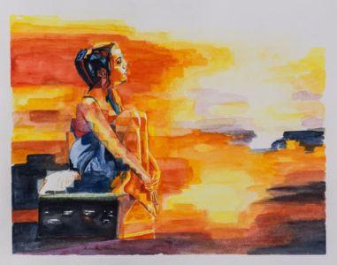 Ragazza con valigia, 2014, acquerello su carta, cm 41x50