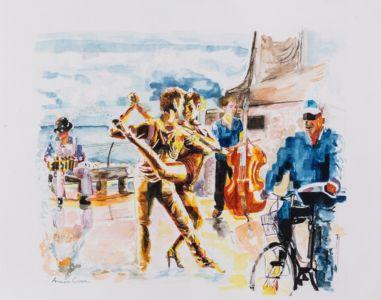 Tango sul molo, 2014, acquerello su carta, cm 40x50