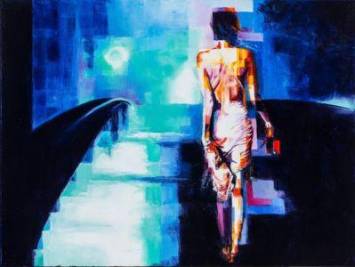 Con Passo Leggero, 2015, olio spatolato su tela, cm 60x80x3,5