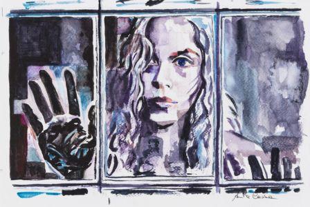 Dietro la finestra, 2016, acquerello su carta, cm 20x30