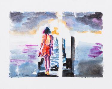 Oltre l'orizzonte 1, 2017, acquerello su carta, cm 25x33