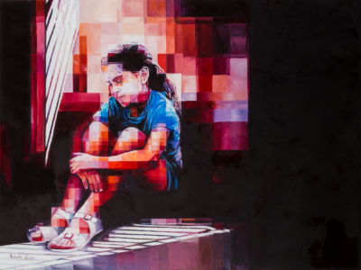 Riflessi di luce nell'ombra, 2017, olio su tela, cm 60x80