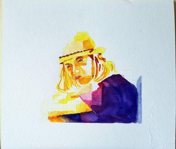 Ragazza Con Cappello Giallo, 2018, acquerello, cm 20x22