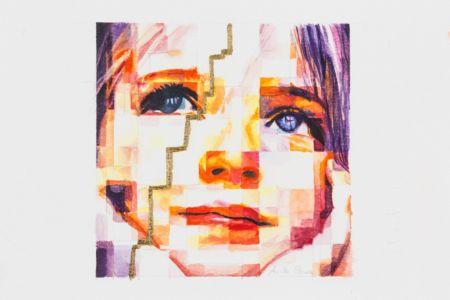 Resilienza - bozza - 2018, Resilienza - bozzetto, acquerello e foglia oro su carta, 31x30 cm