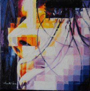 Fuoco e ghiaccio, 2014, olio su tela, cm 20x20