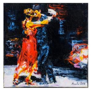 Travolgente intesa, 2014, olio su tela, cm 20x20
