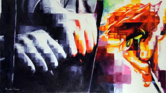 Visitare i carcerati, 2016, olio su tela, cm 40x70