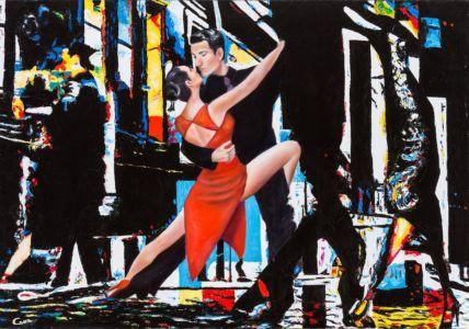 Tango metropolitano, 2012, olio su tela, cm 80x100