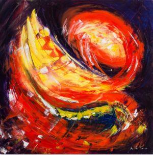 Pizzica al tramonto, 2013, olio su tela, cm 50x50