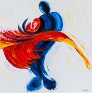Tango passione, 2013, olio su tela, cm 100x100