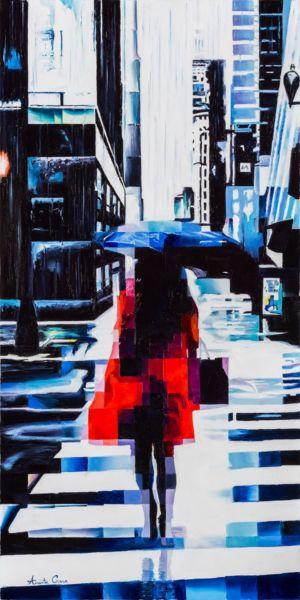 Blue rain, 2019, olio su tela, cm 100x50