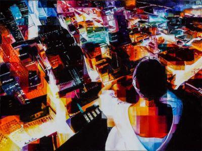 Infinicity, 2019, olio su tela, cm 60x80