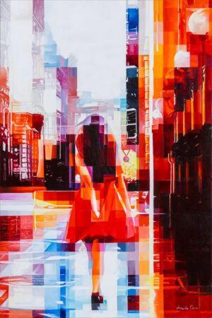 L'opera è dipinta ad olio su tela usando la spatola. Nell'opera è raffigurata una ragazza con un abito rosso che cammina danzando su una strada di Milano. La strada sembra bagnata come se avesse piovuto. Al lato sinistro ci sono dei palazzi sul fondo, mentre a destra si vedono delle colonne e dei lampioni di un loggiato, al centro la ragazza. Il rosso predomina nei colori dei palazzi ai lati del quadro, al centro prevalgono i colori freddi dell'azzurro, del viola e il bianco.