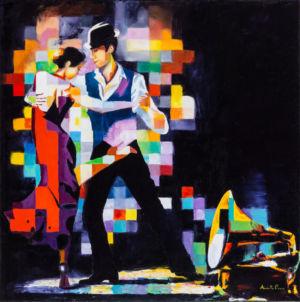 Tango del cuore, 2014, olio su tela, cm 100x100